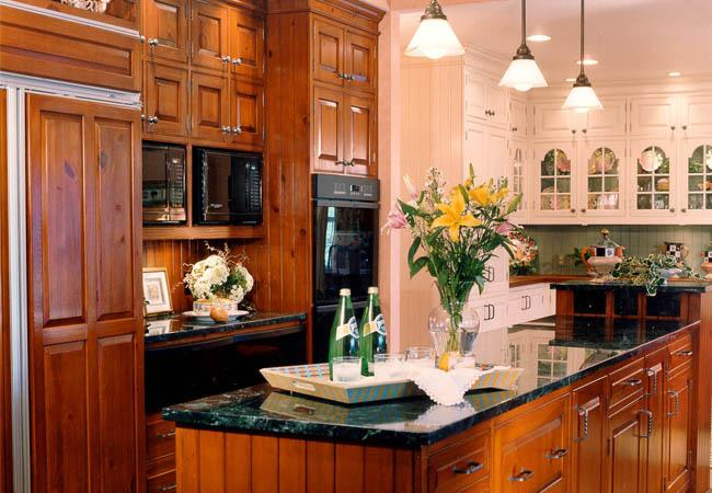 contrasting cabinets