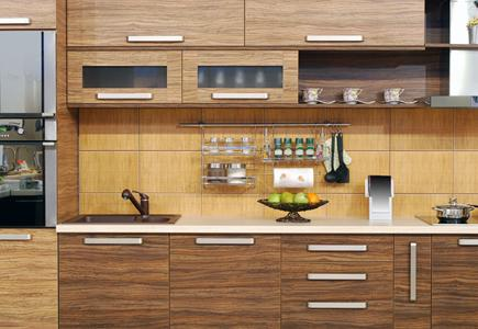 Kitchen Workspace with Cabinets and Drawers