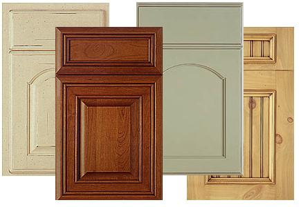 A selection of cabinet doors with a variety of finishes.