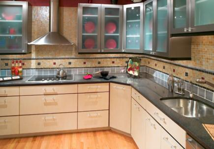 Semi-custom wood and stainless steel cabinetry.
