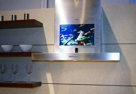 Range Hood with a television screen included