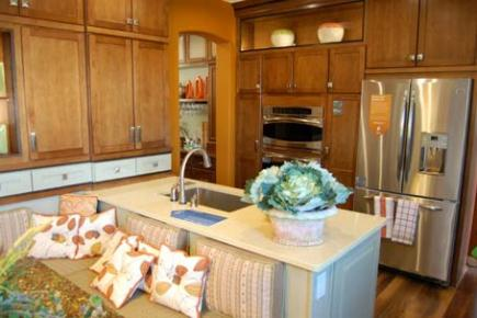 Cabinets with a medium brown finisn