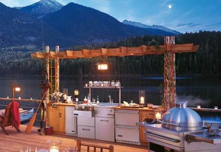 Kitchen-Appliances-Outside-Against-Mountain-Backdrop
