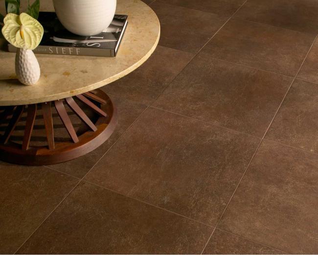 Dark brown porcelain floor tiles