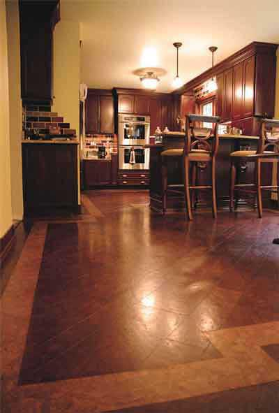 A kitchen with cork flooring.