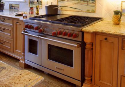 This 48-inch Wolf gas range offers two ovens.