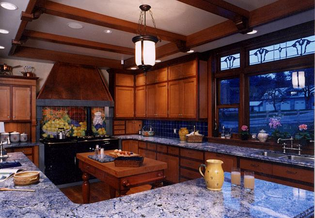 Cherry-framed Cabinets with Stained Maple Doors