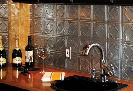 A tin kitchen tile backsplash from American Tin Ceiling.