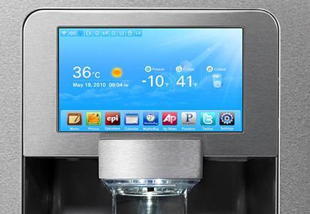A refrigerator LCD panel displaying information and interactive menu