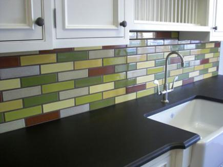 A ceramic subway tile backsplash from Fireclay Tile.