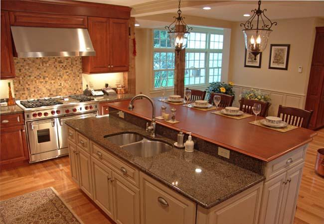 Dual-Level Kitchen Island with Granite and Wood Countertops