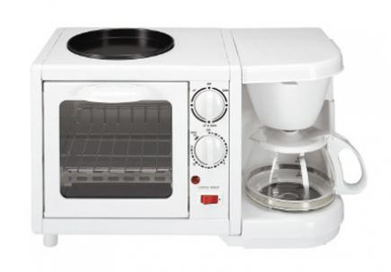 Combination toaster oven and coffee maker