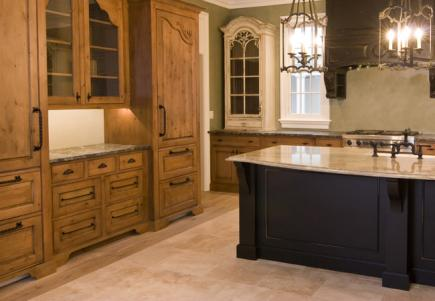 A kitchen with a variety of finishes.
