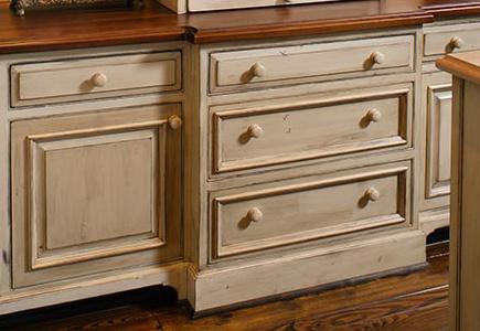 Cabinet with rustic finish