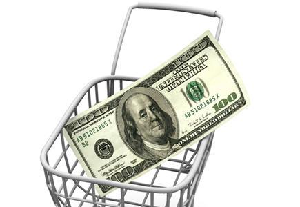 A $100 bill in a basket