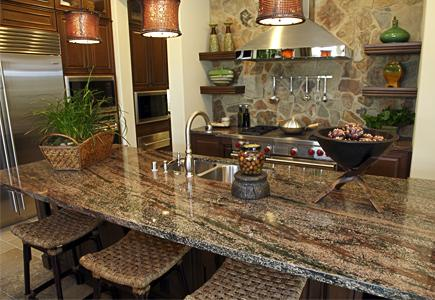A kitchen with a stone dining table