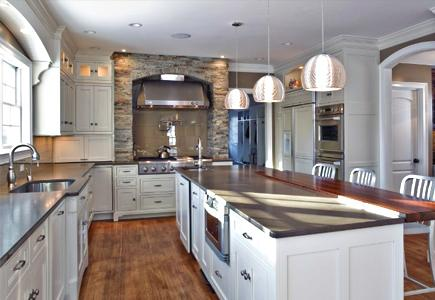 A well-lit kitchen constructed with eco-friendly materials