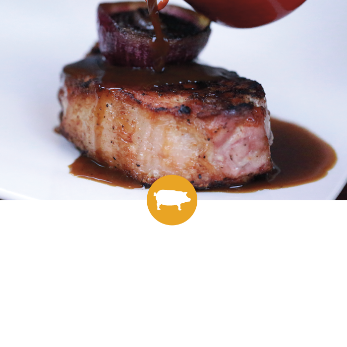 Sycamore Inn GRILLED PORK LOIN CHOPS with Roasted Red Onion and Madeira Sauce