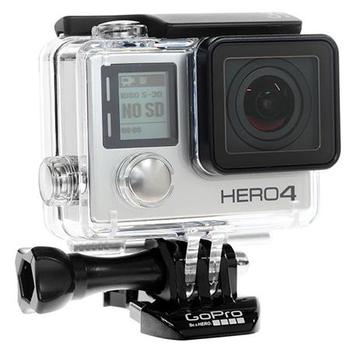 Rent GoPro GoPro HERO4 Black Action Camera, 12MP, Supports 4K30, 2.7K50, 1080p Video, Ultra Wide Angle Glass Lens + SuperView, Wi-Fi and Bluetooth, Waterproof
