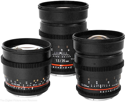 Rokinon 24 35 85mm t1.5 cine lens bundle