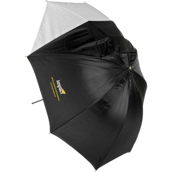 Rent Impact Convertible Umbrella - White Satin with Removable Black Backing - 45""