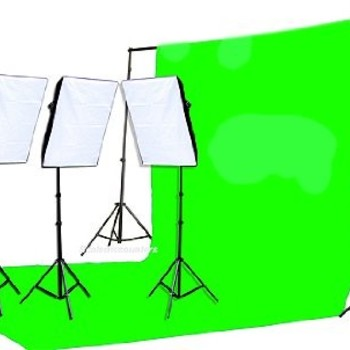 Rent FancierStudio 2400 Watt Chromakey Green Screen Video Lighting Kit VL9004S3 +TB Green Kit