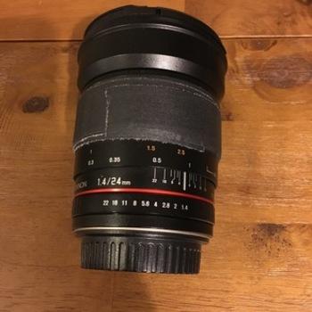 Rent Rokinon 24mm lens, f/1.4, EF Mount, Cine Gear added