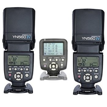 Rent Yongnuo YN-560IV 2PCS Wireless Flash Speedlite kit + YN560-TX LCD Flash Trigger Remote Controller For Canon DLSR Cameras