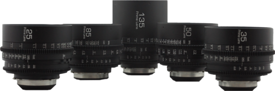 Gl optics super speed standard speed pl mount prime lens set