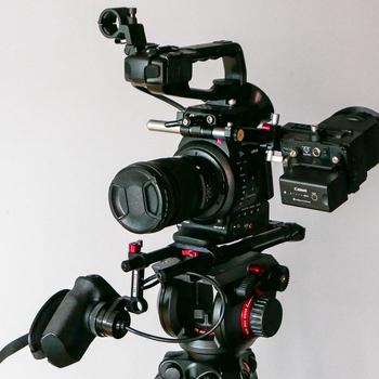 Rent Ultralight C100 shoulder mount kit with Cineroid EVF