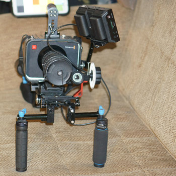 Rent Blackmagic Cinema Camera 2.5k EF Full Kit Red Rock Shoulder Rig