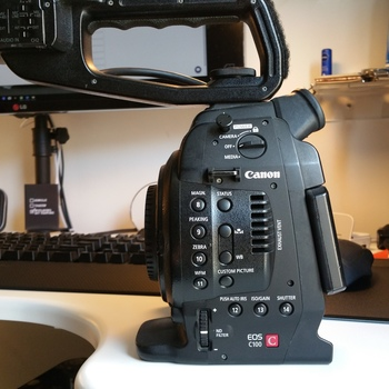 Rent Canon EOS C100 and 6 batteries, Charger, 2 x 64GB SD cards, AC power supply
