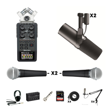 Rent Podcast/Interview Audio Kit - Zoom H6 + 2X Shure SM7B's + 2X Shure SM58's (Cables/Mic Stands/Memory Card Included)