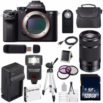 Rent Sony A7s II with Sony E 55-210mm lens, Commlite Canon lens adapter, and accessories