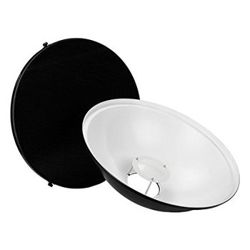 "Rent Pro Beauty Dish 22"" Kit with Honeycomb Grid and Speedring for Alien Bees Strobe"