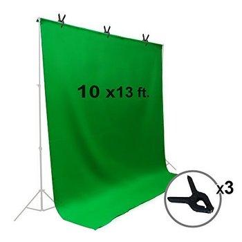 Rent 10 x 13 ft. Green Chromakey Muslin Backdrop - Incl. 2 stands/crossbar -2 sandbags