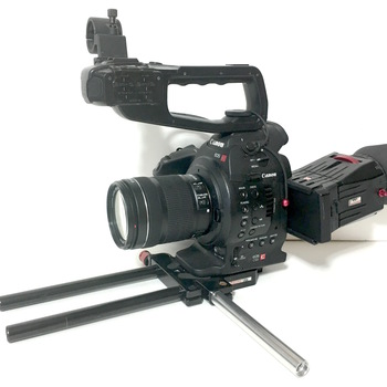 Rent Canon C100 Rig w/18-35 mm lens  Zacuto Z-Finder Pro eye cup & rails