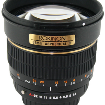 Rent Rokinon 85mm f/1.4 lens for Nikon, with AE chip