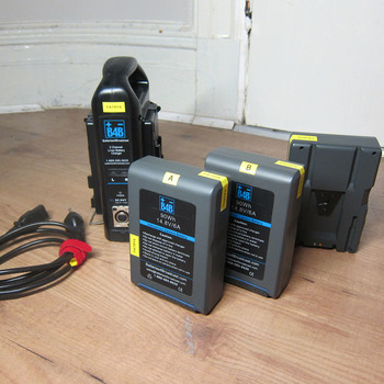 Rent (3) V-mount batteries (90Wh) + simultaneous charger