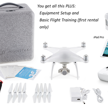 Rent DJI Phantom 4 Quadcopter PLUS iPad Pro and Two Extra Flight Batteries