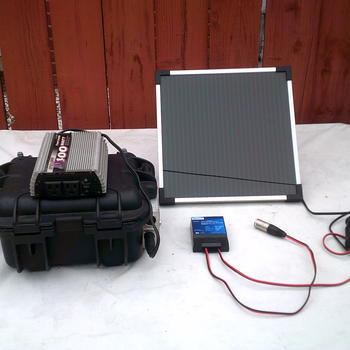 Rent Portable AC/DC power, 100w solar panel, 32aH battery, 450w inverter; Complete Kit