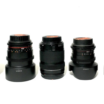 Rent Rokinon cinema primes Lens Kit: 14mm, 35mm, 85mm, Canon 50mm, Canon EF-S 18-135mm