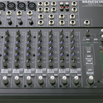 Rent Mackie 1202 12-channel mixer great for stage / set and field use. 4x XLR, 4x stereo, 2-outputs