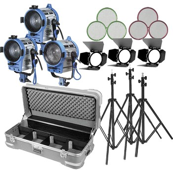 Rent 6 Light Fresnel kit with stands, distro, dimmers, cases.  Very  Complete Package