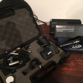 Rent 4 X Sony ECM-44 Omni-Directional Electret Condenser Wired Lavalier Microphone / SHURE wireless mic and handheld
