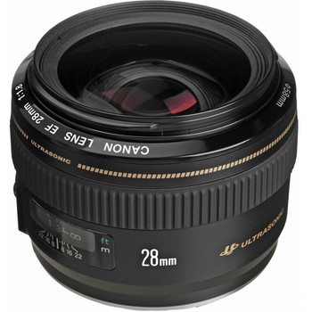 Rent Fast Canon 28mm f/1.8 medium wide angle lens. Compact. Excellent autofocus.