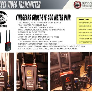 Rent 1200 Ft Wireless Video Set Uncompressed ,  No Latency, SDI & HDMI In/OUT