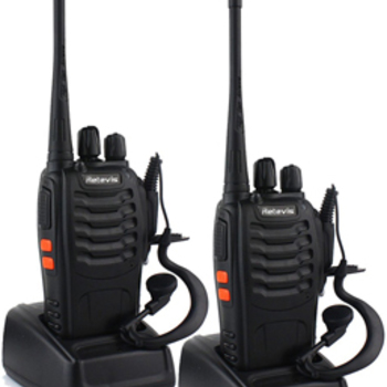 Rent 6 UHF 4-watt  16-channel walkie talkies includes earpieces and extra batteries