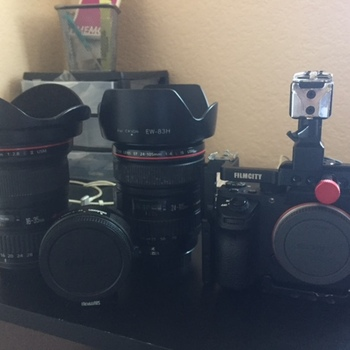 Rent Sony A7sii with Sound Kit, Canon L Series Zoom Lenses, 100mm Macro Lens