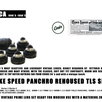 Rent Very well-kept Cooke Speed Panchro TLS rehoused lens set (18, 25, 32, 40, 50, 75, 100, 152, 203, 317mm)